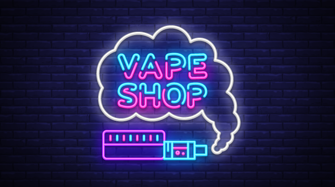 Vape shop written in neon