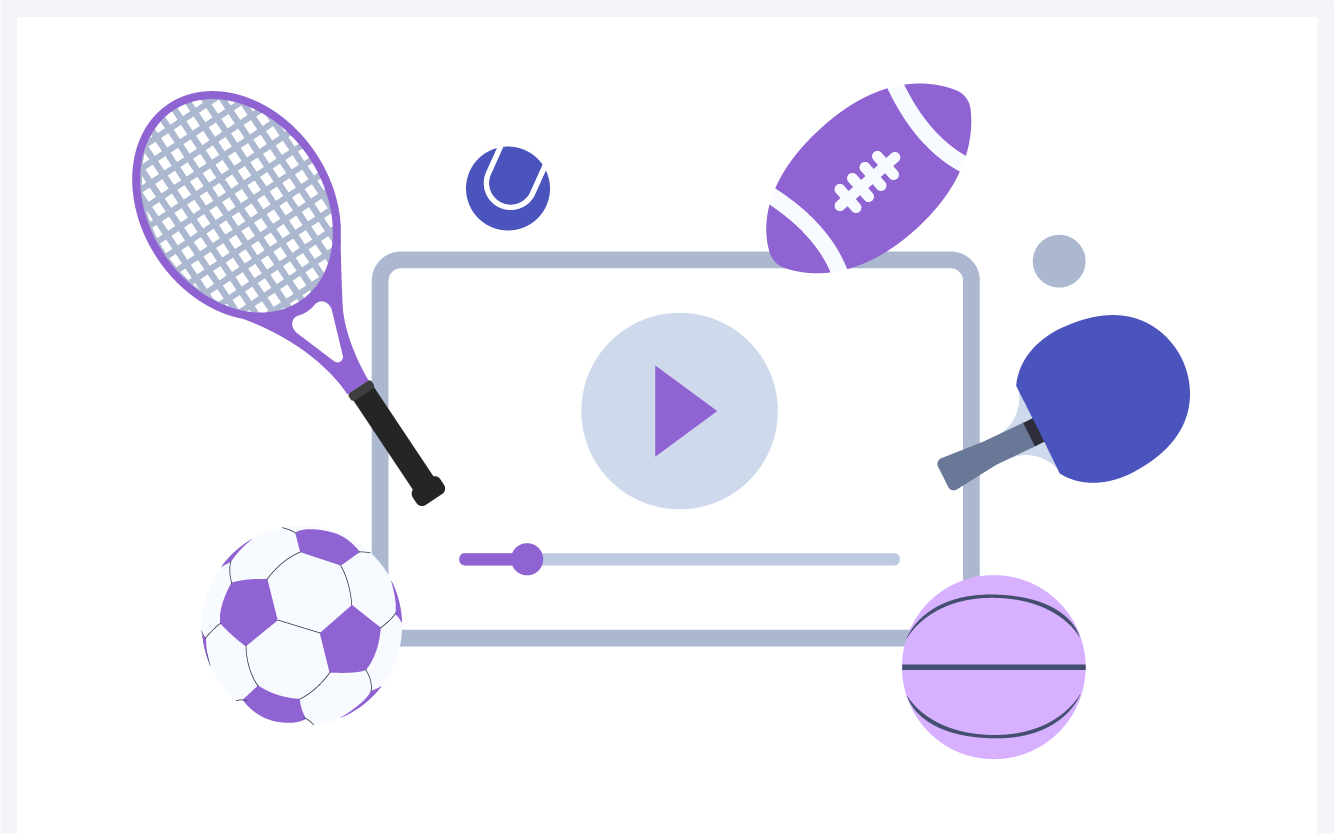 Sports rackets and balls around a television.