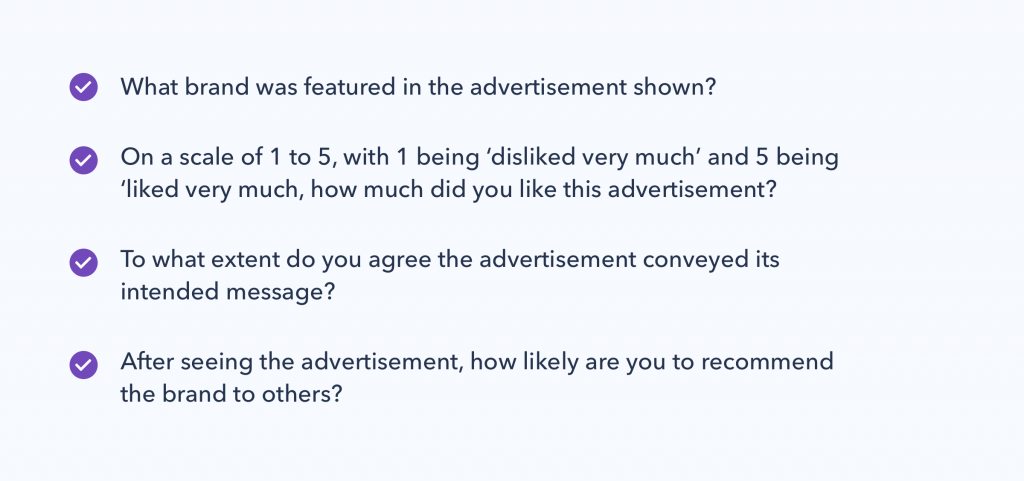 Graphic showing examples of the questions you can ask consumers when determining advertising effectiveness.