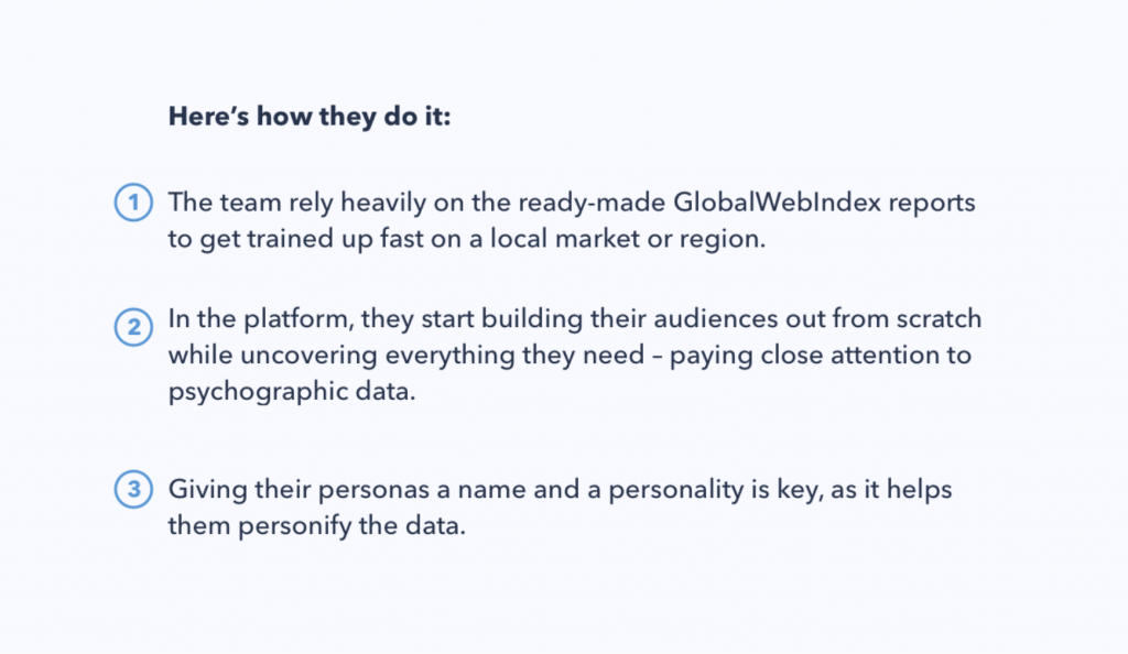 Chart showing how Bigeye used psychographic data to build audience personas